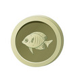 olive-colored coin with image a fish vector image