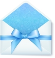 Paper envelope with blue bow vector image vector image