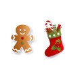 paper flat christmas stocking and gingerman cookie vector image