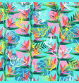 pattern with bird paradise flower vector image vector image