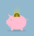 pink piggy bank with dollar coin vector image vector image