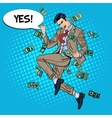 Pop Art Successful Businessman Jumping with Money vector image vector image