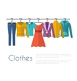 Racks with clothes on hangers vector image vector image