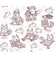 seamless pattern with foxes characters in outline vector image vector image
