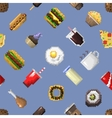 Seamless pixel breakfast pattern vector image