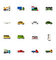 set of 16 editable car icons flat style includes vector image