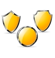 set of yellow steel shields vector image vector image