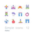 set simple line icons paris vector image vector image