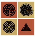 several style pizza icons set vector image