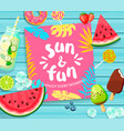Sun and fun lettering on blue wooden background