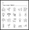 Travel Element Line Icon Set 4Beach and Sea vector image vector image