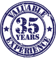 Valuable 35 years of experience rubber stamp vect vector image vector image