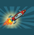 vintage astronaut in a small spaceship in space vector image vector image