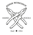 Vintage carpentry hand tools repair service labels vector image