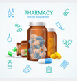 pharmacy concept with pills capsules in medical vector image