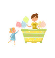 cute little girl bying cotton candy from street vector image