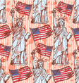 Sketch Statue of Liberty and flag vintage seamless vector image