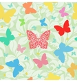 colored butterflies seamless floral background vector image
