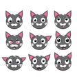 icons of smiley cat faces vector image