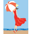 a young slim woman walking under an umbrella on vector image vector image