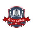 Arts school badge with heraldic design elements vector image