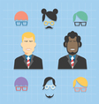 avatar business team icons set vector image