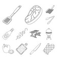 barbecue and equipment outline icons in set vector image