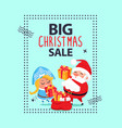 big christmas sale banner santa claus snow maiden vector image vector image