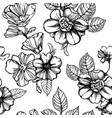 black and white flowers seamless pattern vector image vector image
