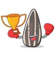 boxing winner sunflower seed mascot cartoon vector image vector image
