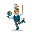 boy and school subjects vector image vector image