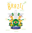 brazilian fans cheer up template with national vector image
