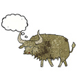 cartoon annoyed hairy cow with thought bubble vector image