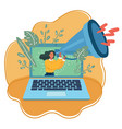 cartoon computer laptop with vector image vector image
