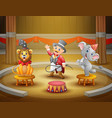 cartoon ringmaster perform with animals on the are vector image vector image