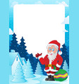 christmas topic frame 6 vector image vector image