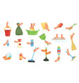 colorful set of human hands using rag dust brush vector image vector image