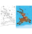 Coloring Book Of Christmas Deer Running On Snow vector image