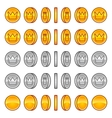 crown coins rotation animation sprites vector image