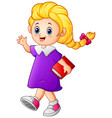 cute girl walk holding book vector image vector image