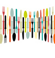 Cutlery dishe spoon knife and fork vector image vector image
