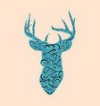 deer head on white hand drawn vintage vector image vector image