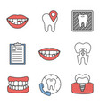 dentistry color icons set vector image vector image