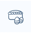 Easter cake with eggs sketch icon vector image vector image