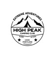 extreme adventure badge high peak camping club vector image vector image