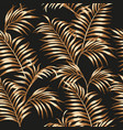 gold palm leaves seamless black background vector image