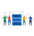 group engineer prepare maintain server data vector image