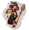 Halloween masquerade Beautiful young woman witch vector image vector image