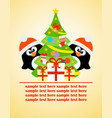 happy new year card with penguins and christmas vector image vector image