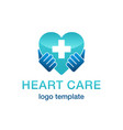 heart care cardiology medical logo template vector image vector image